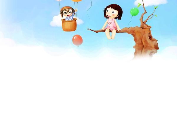 坐在树枝上的小女孩卡通PPT背景图片