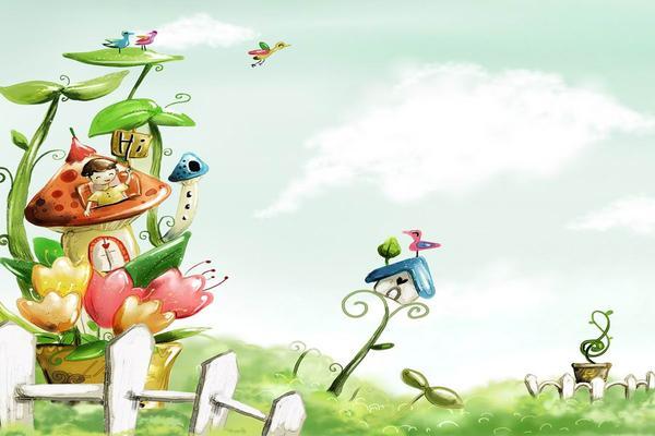 蘑菇房子卡通PPT背景图片