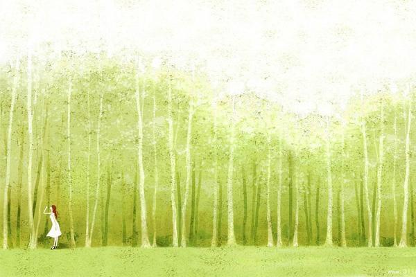 磨砂材质彩绘森林人物PPT背景图片