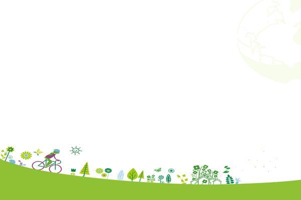两张绿色卡通环保主题幻灯片背景图片