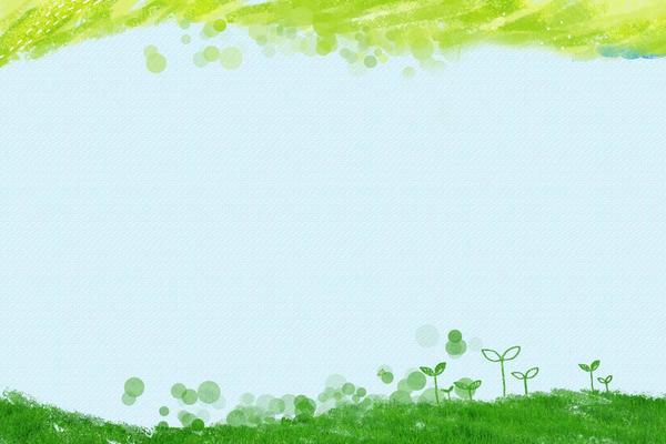 绿色水彩绘制的卡通草地嫩芽PPT背景图片