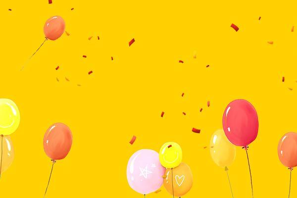 五张彩色气球PPT背景图片