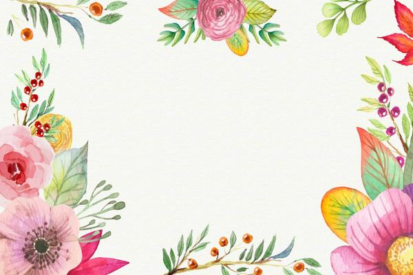 两张水彩花卉PPT背景图片
