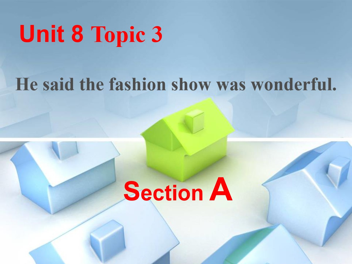 《He said the fashion show was wonderful》SectionA PPT