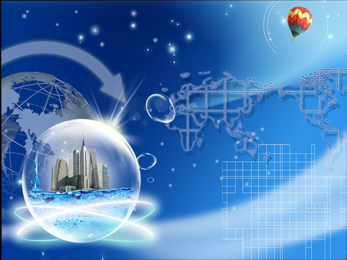 地球背景商务PPT模板