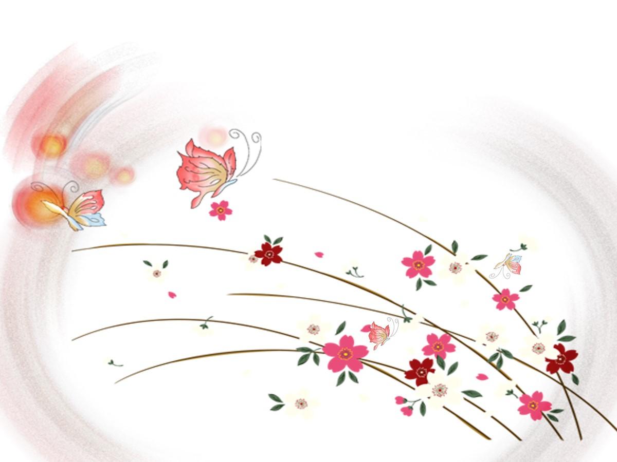 卡通花丛中蝴蝶飞舞幻灯片模板