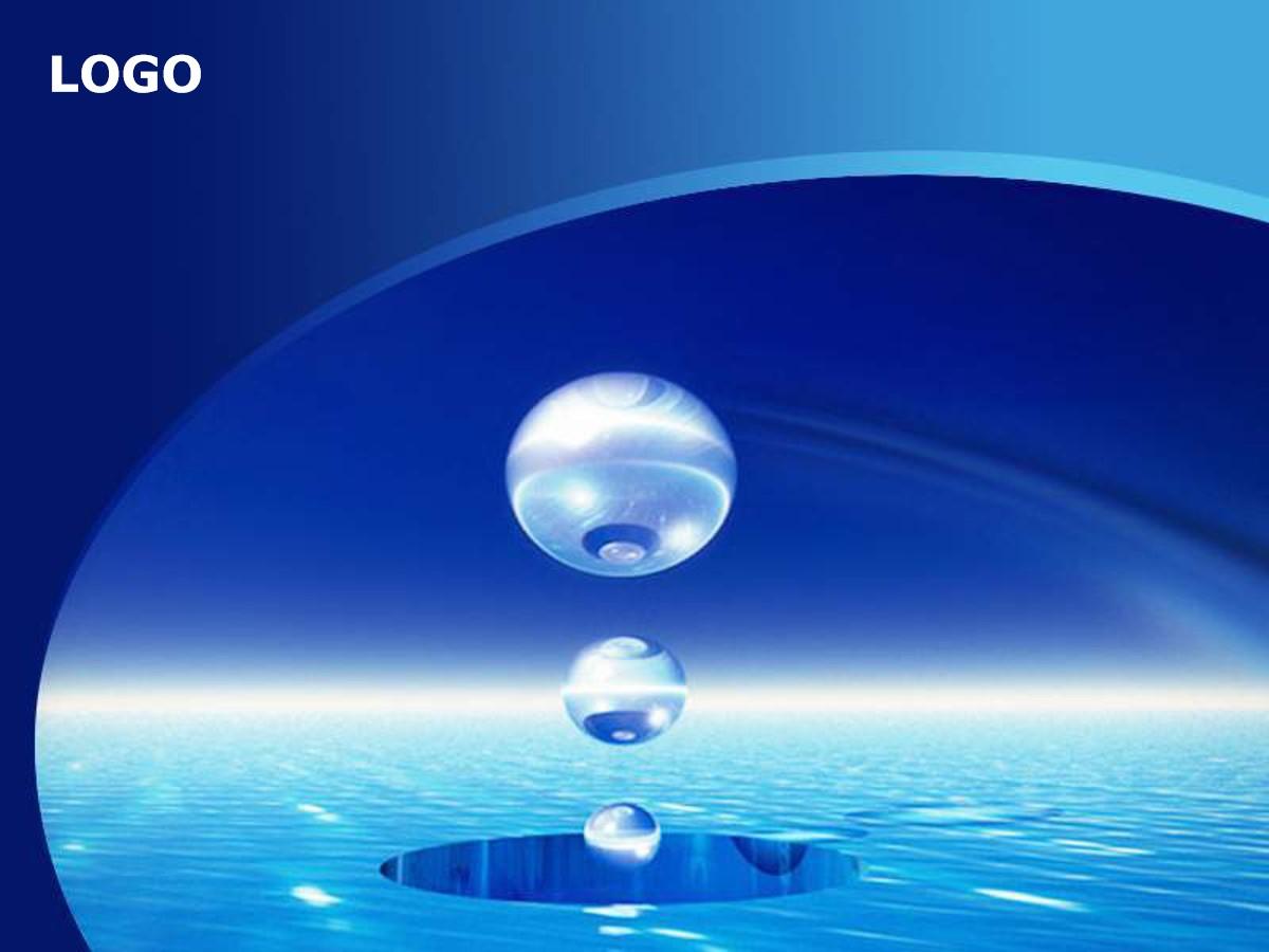 蓝色水滴背景商务PPT模板
