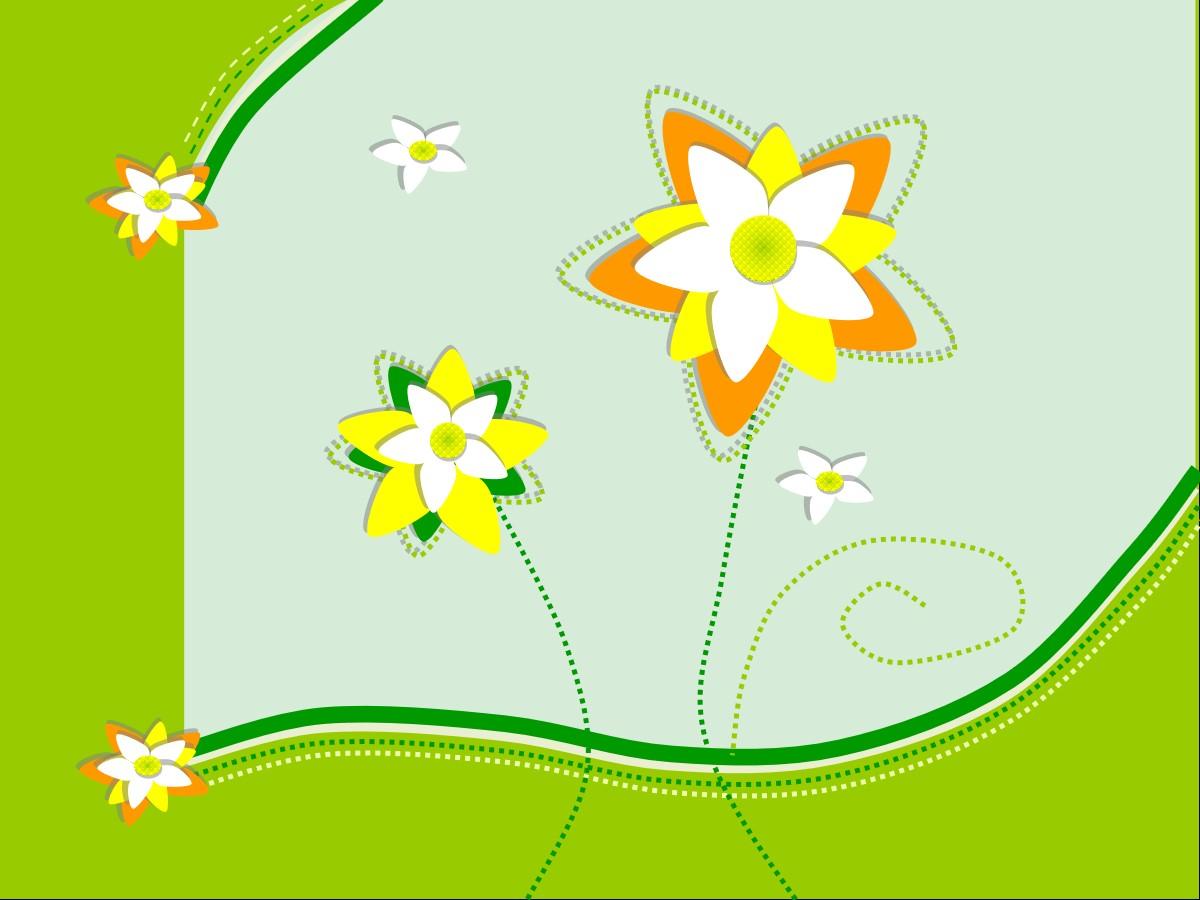 绿色卡通花朵背景幻灯片模板