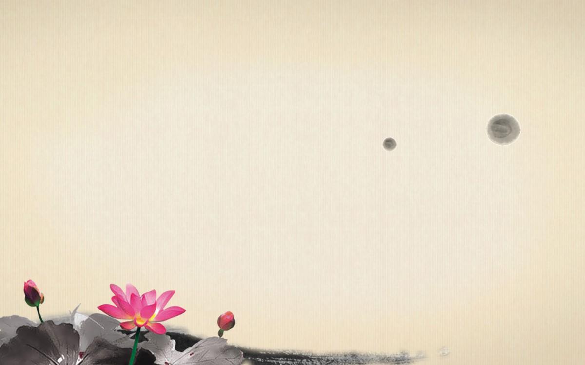 莲花背景的古典中国风幻灯片背景图片