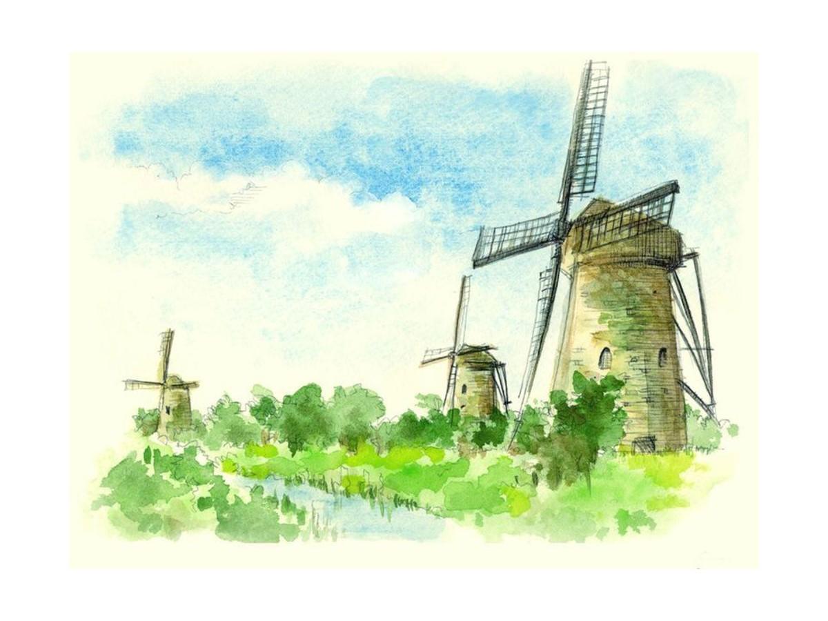 风车背景图片艺术绘画PPT背景模板