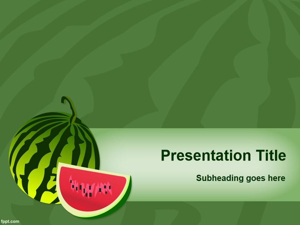 清凉夏日西瓜水果PPT模板