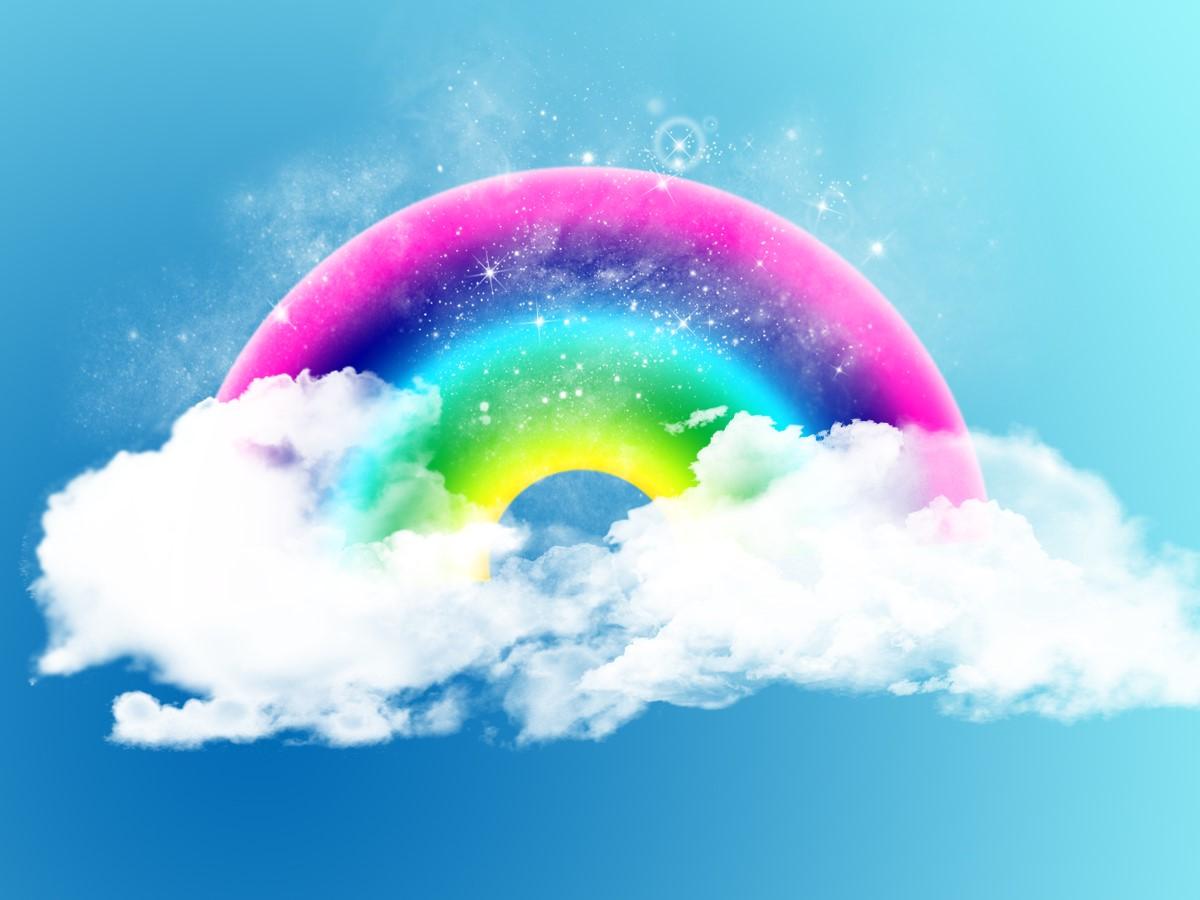 精美的动态蓝天白云彩虹PPT背景图片
