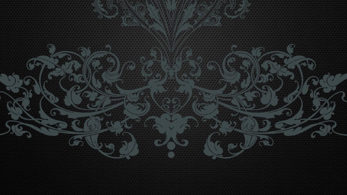 黑色花纹背景的个性艺术PPT模板