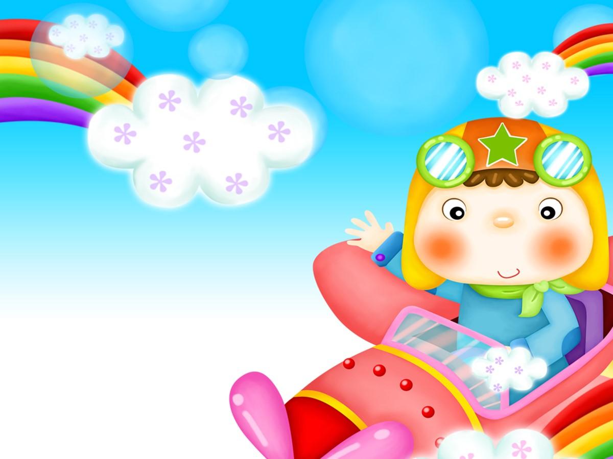 宝宝开飞机童趣PPT模板
