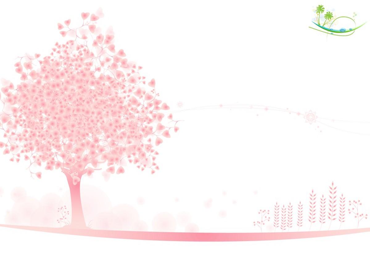 粉色爱情树背景PPT模板