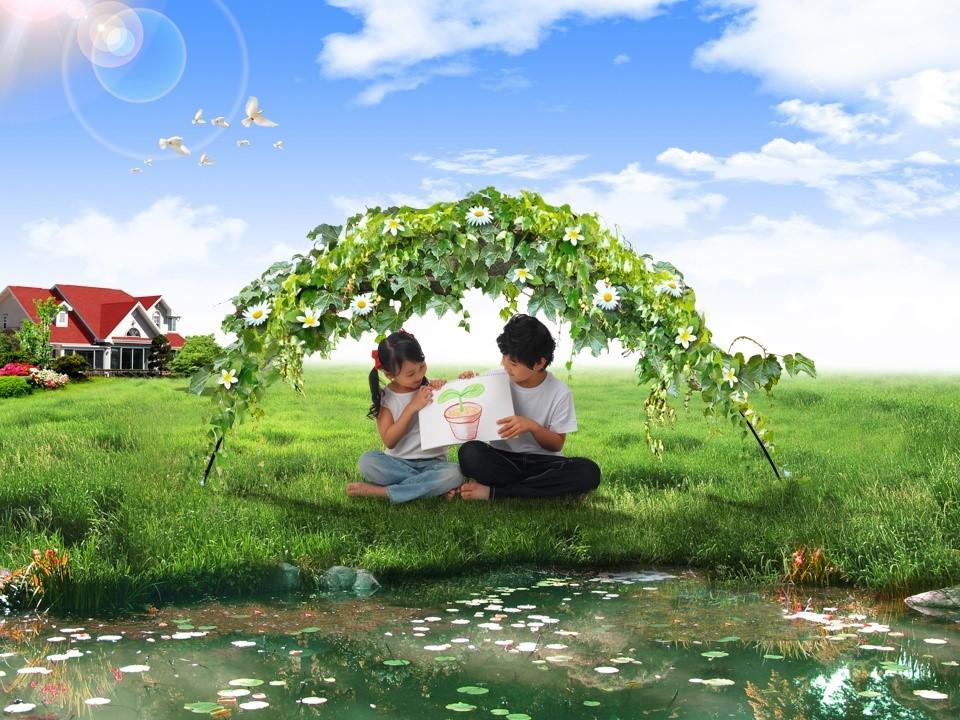 儿童的绿色家园 快乐天堂PPT模板