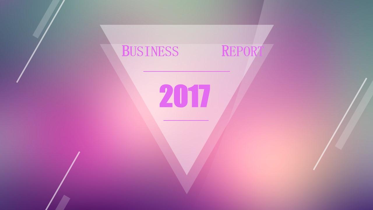 半透明几何图形创意朦胧紫背景iOS风格PPT模板
