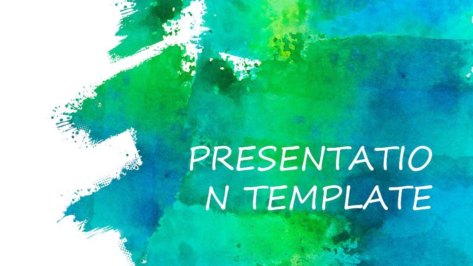 喷墨水彩艺术美学PPT模板 工作报告PPT模板