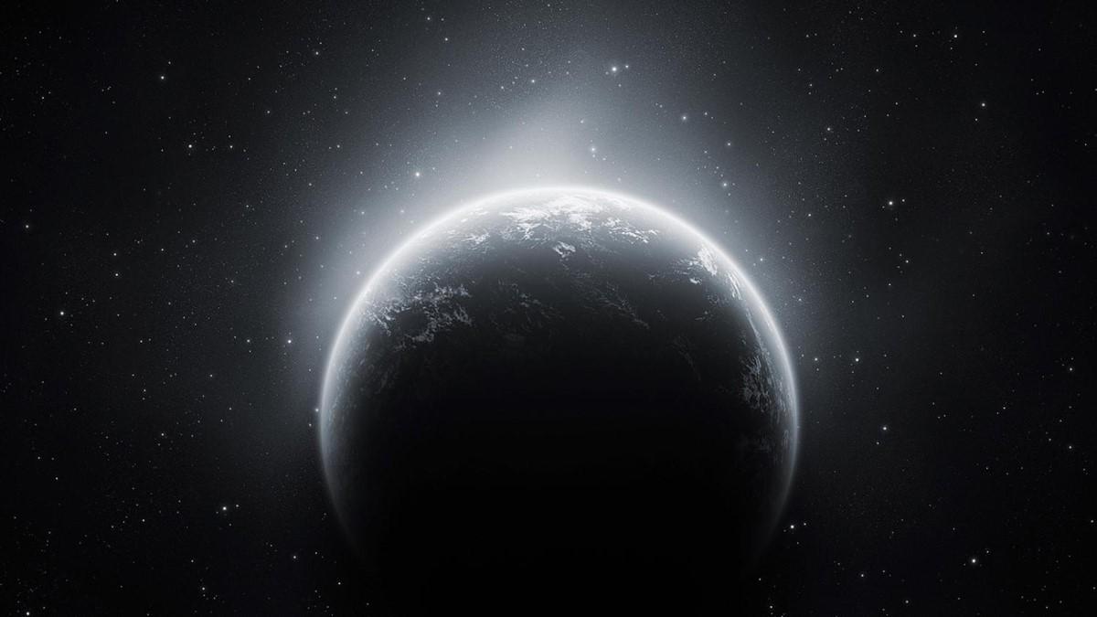 黑白唯美星球PPT背景图片