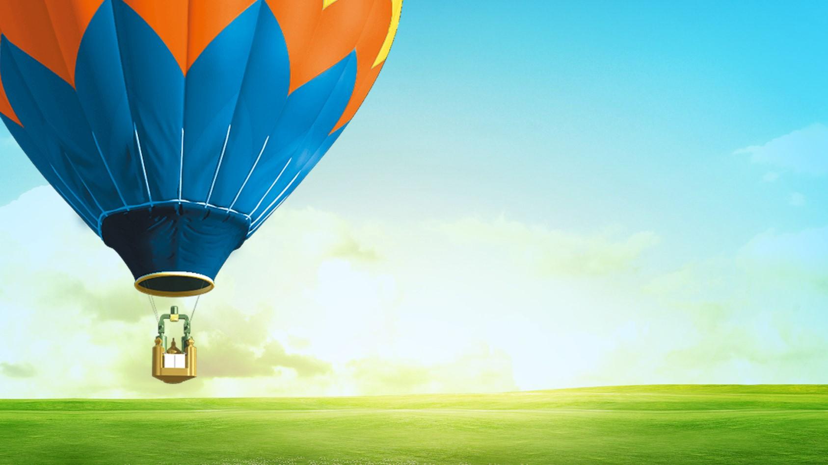 5张天空中的动态热气球PPT背景图片
