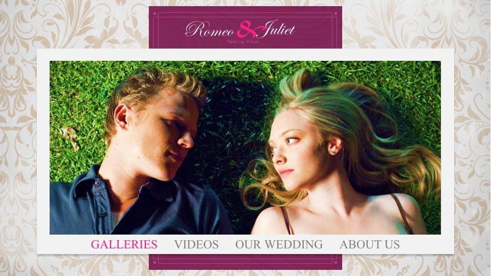 紫色浪漫婚礼幻灯片模板