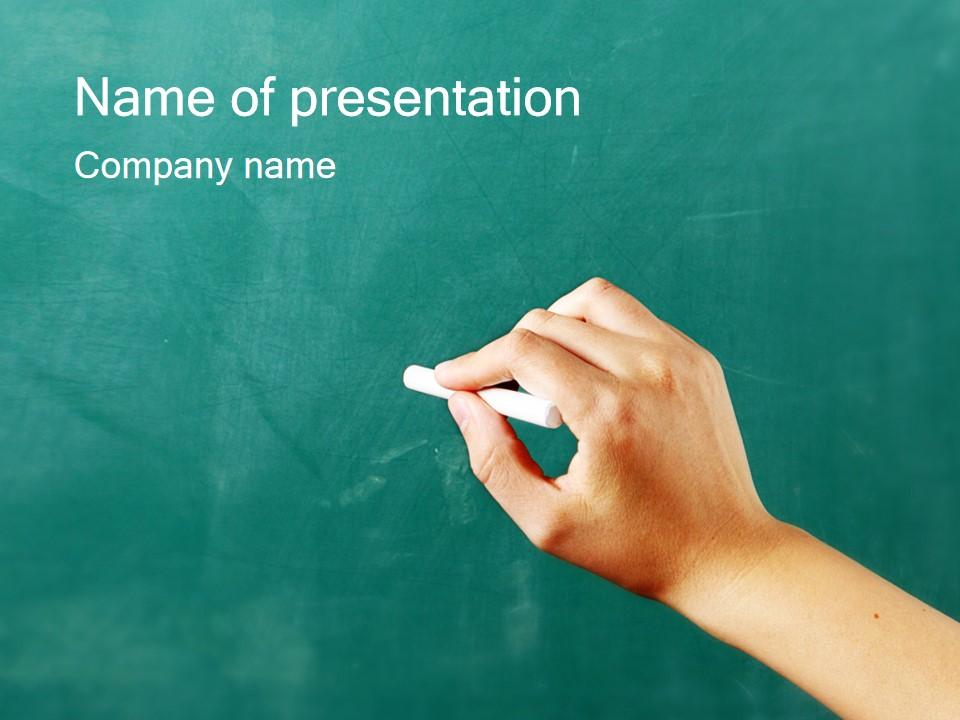 手拿粉笔黑板上写字教育教学PPT模板