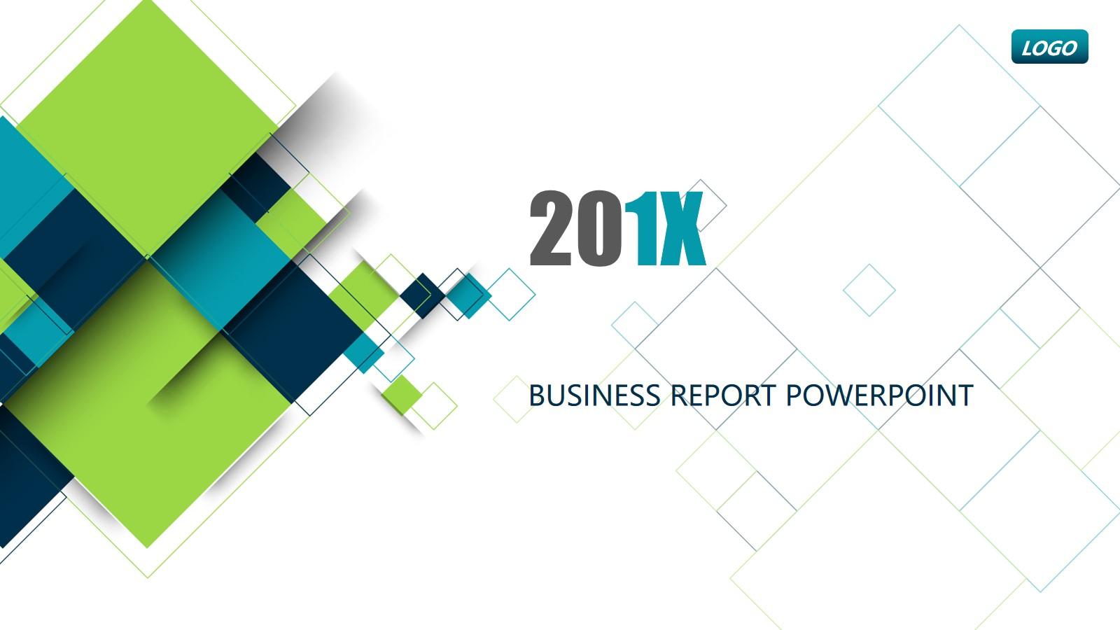 蓝绿配色的方块图形背景商业融资计划书PPT模板