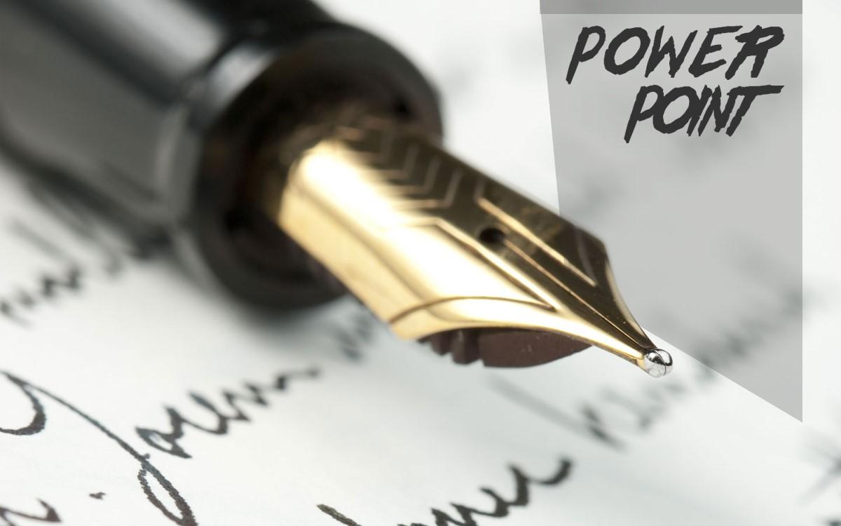 钢笔背景的教育学习PPT模板