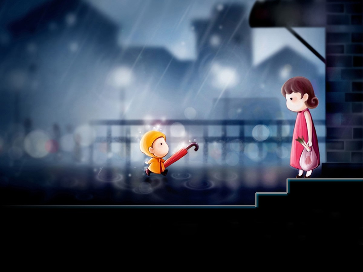给妈妈送雨伞背景感恩母亲节幻灯片模板