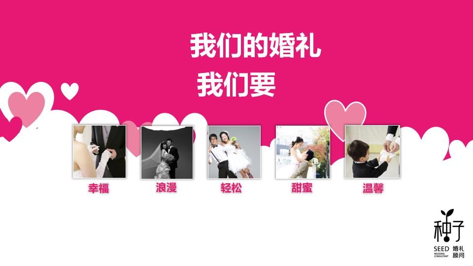 粉色动态婚礼策划PPT模板