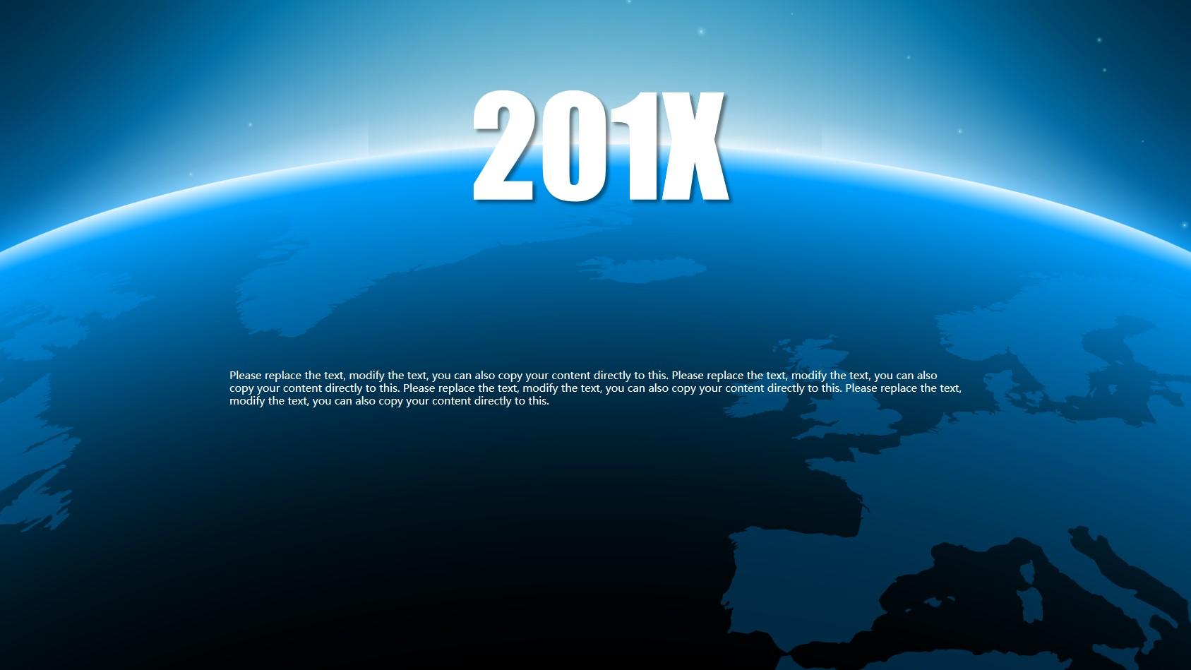 蓝色地球半径的工作计划PPT模板