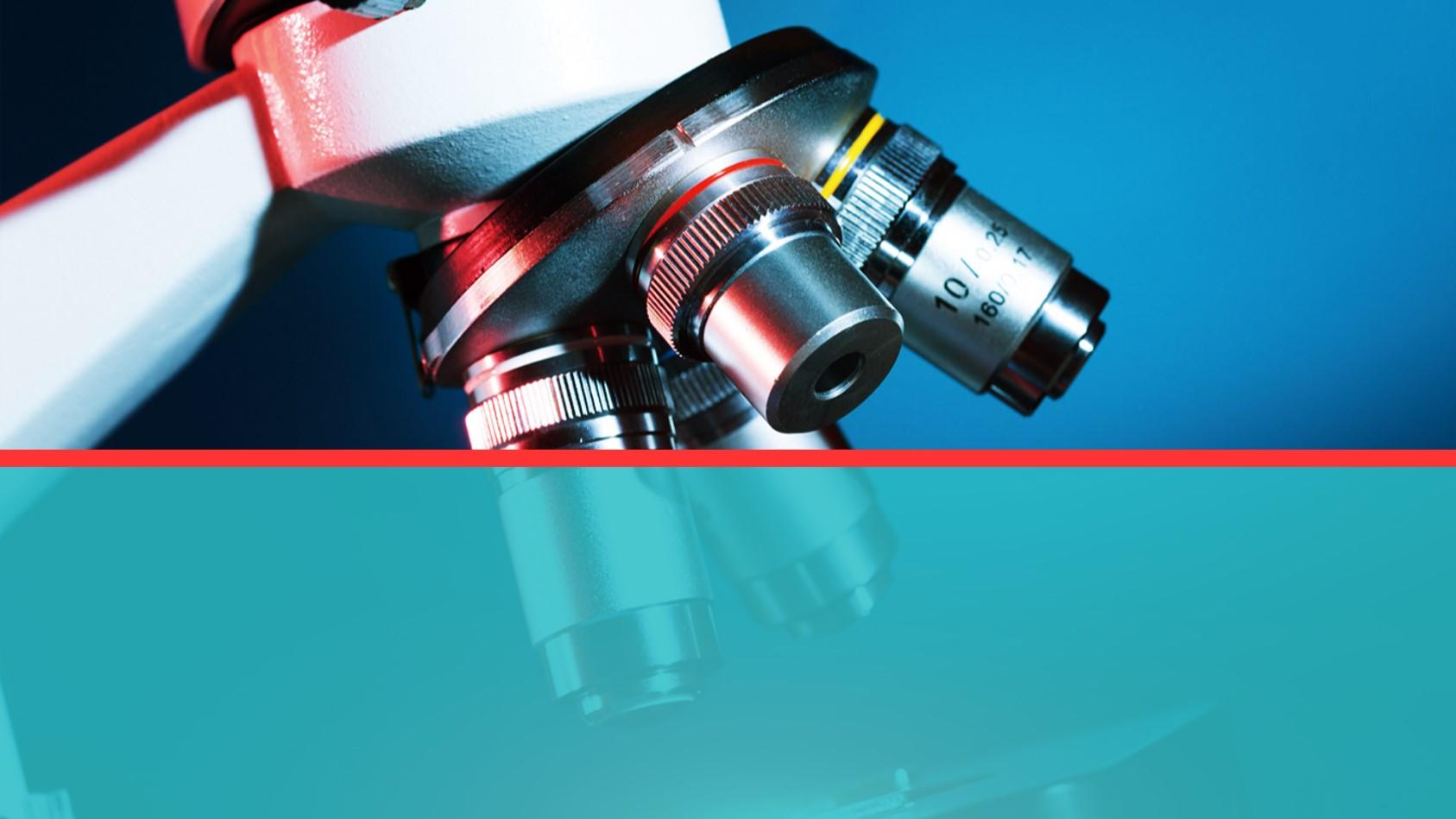 显微镜背景的医疗医学科研PPT模板