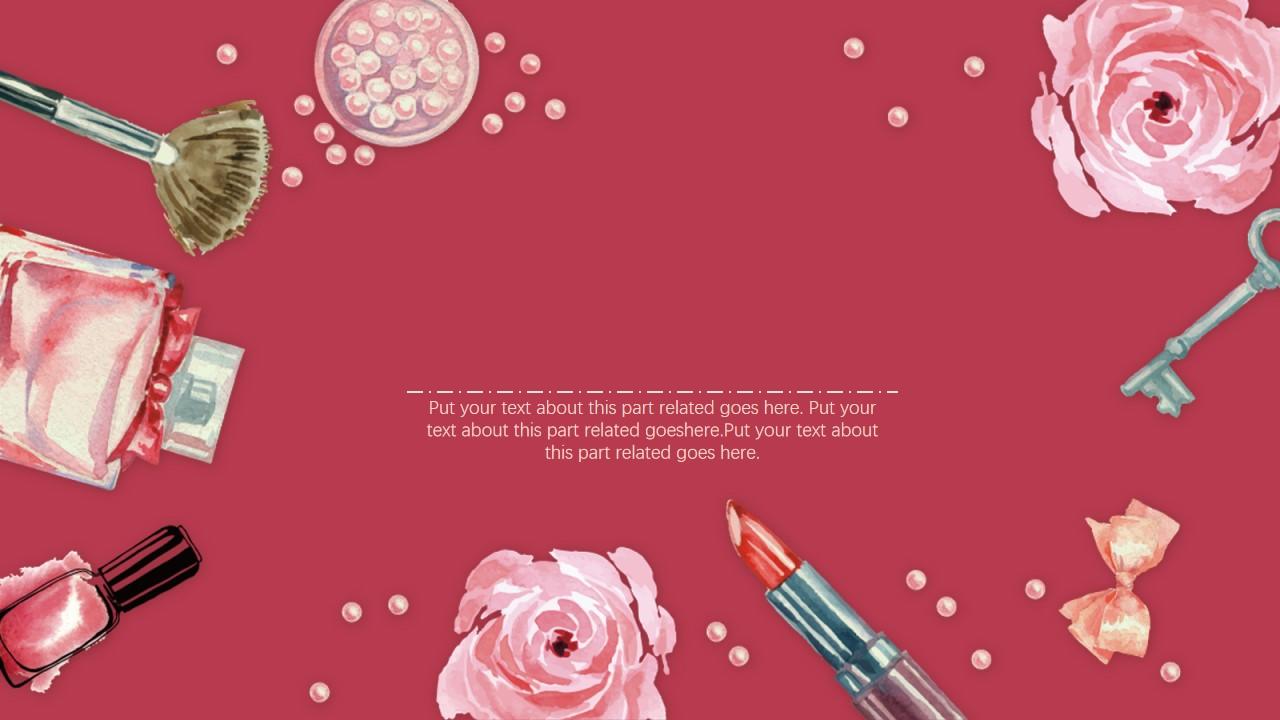 红色水彩花卉化妆品背景美容PPT模板