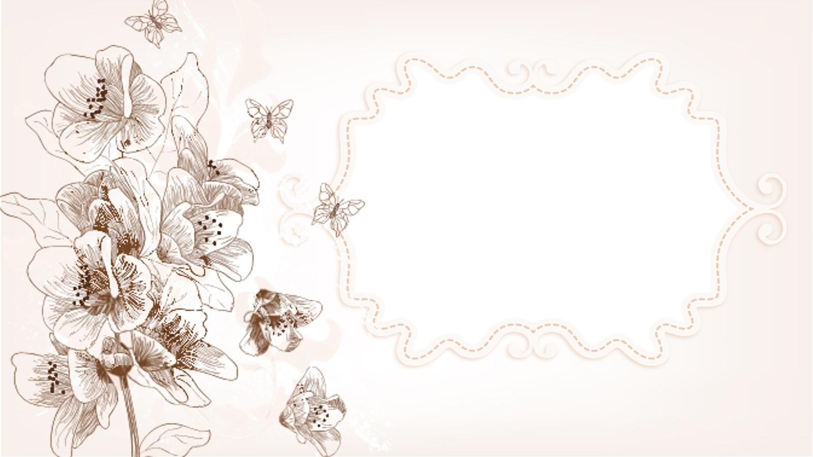 手绘淡雅艺术花卉PPT背景图片