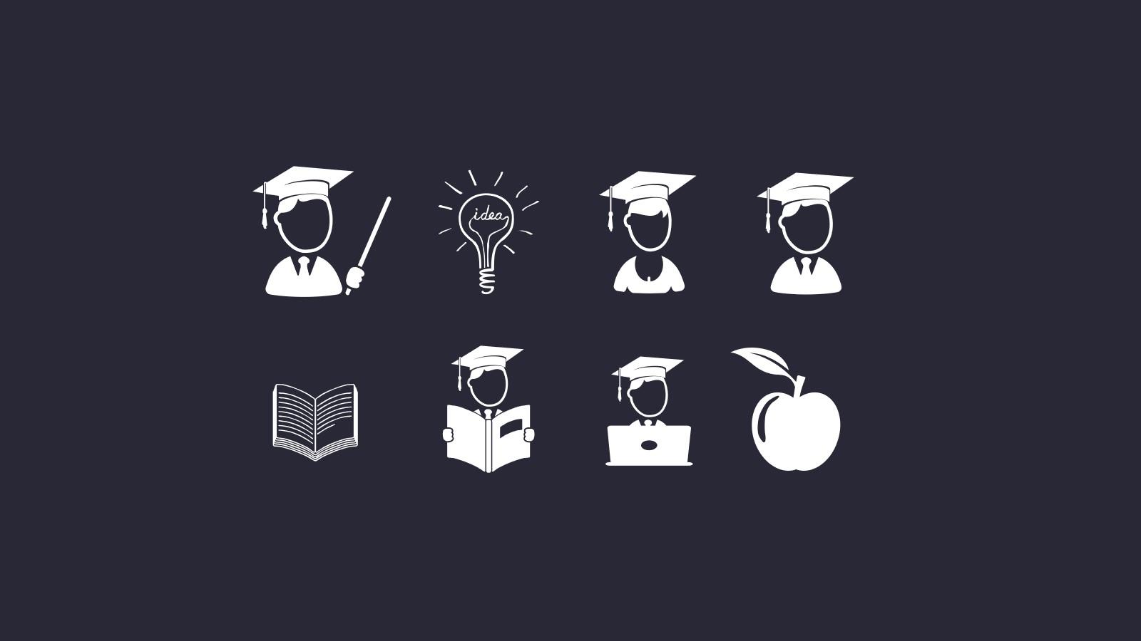 论文答辩相关教育教学系列单色ppt图标