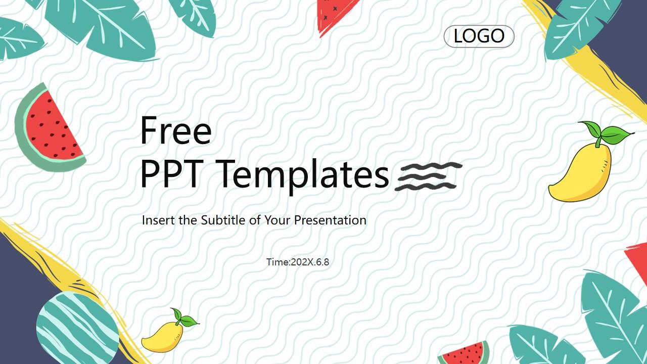 你好夏天夏日水果的PPT背景图片