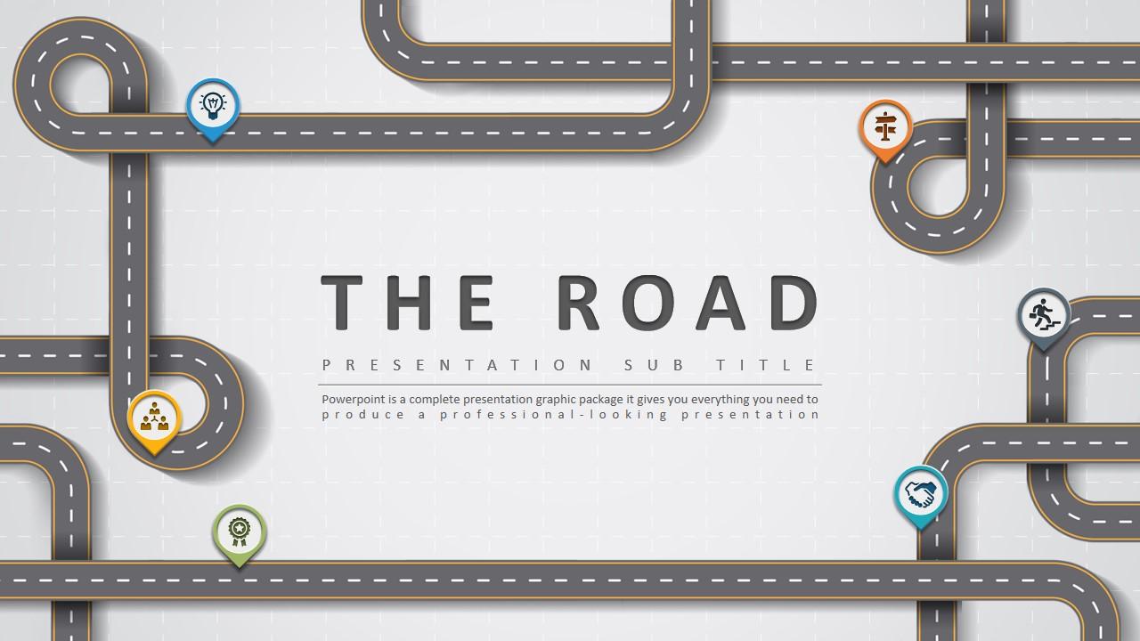 创意道路主题工作计划年终总结PPT模板