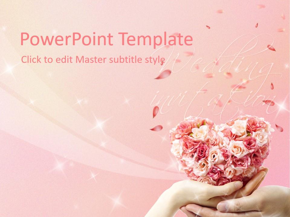 粉色浪漫婚礼主题PPT模板