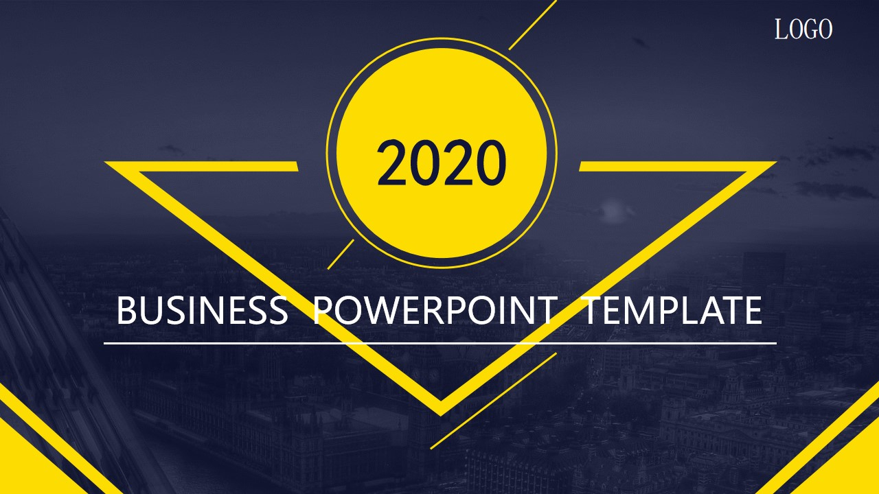 灰黄色平面商务PowerPoint模板