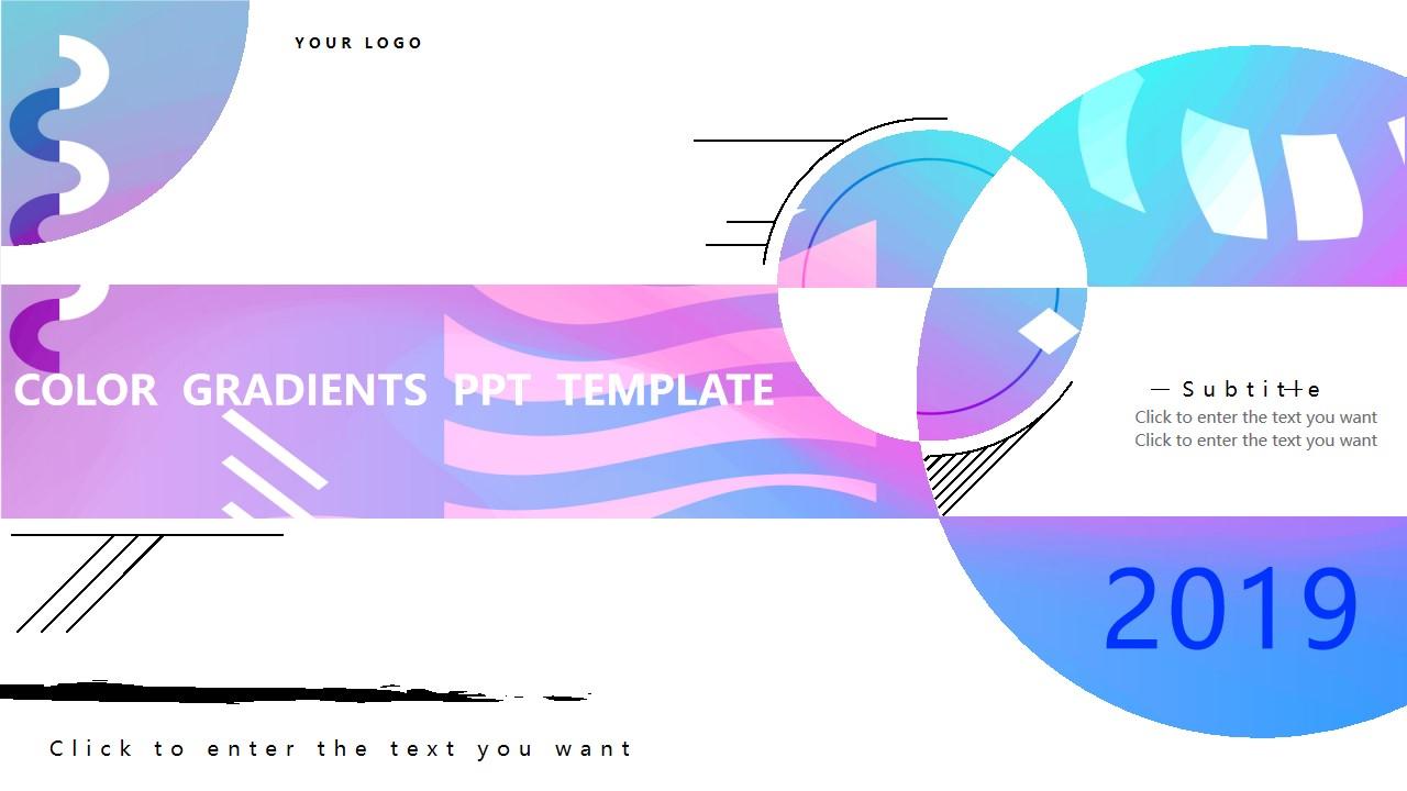 用于业务报表的渐变样式PowerPoint模板