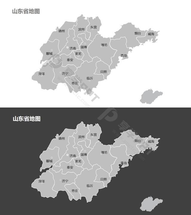 山东省地图细分到市-可编辑的PPT素材模板长图
