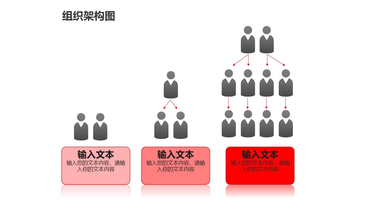 组织架构图之3部分渐变等级管理关系图形PPT素材