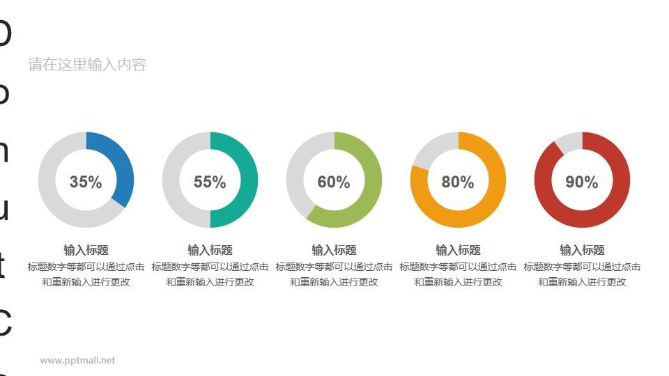 五个横向排列的彩色环形图数据分析对比图表PPT素材