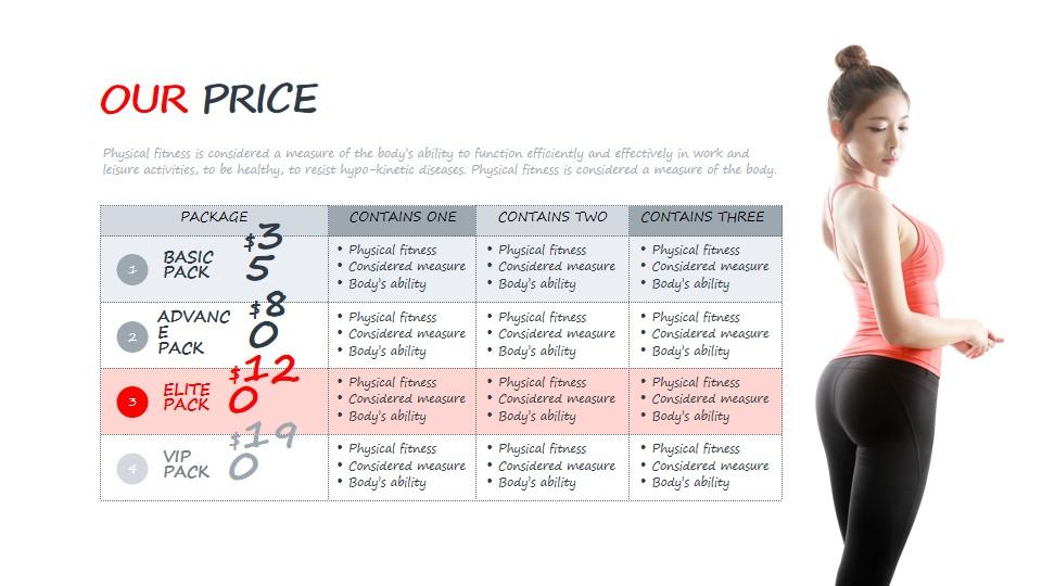 健身会员VIP价格表PPT模板