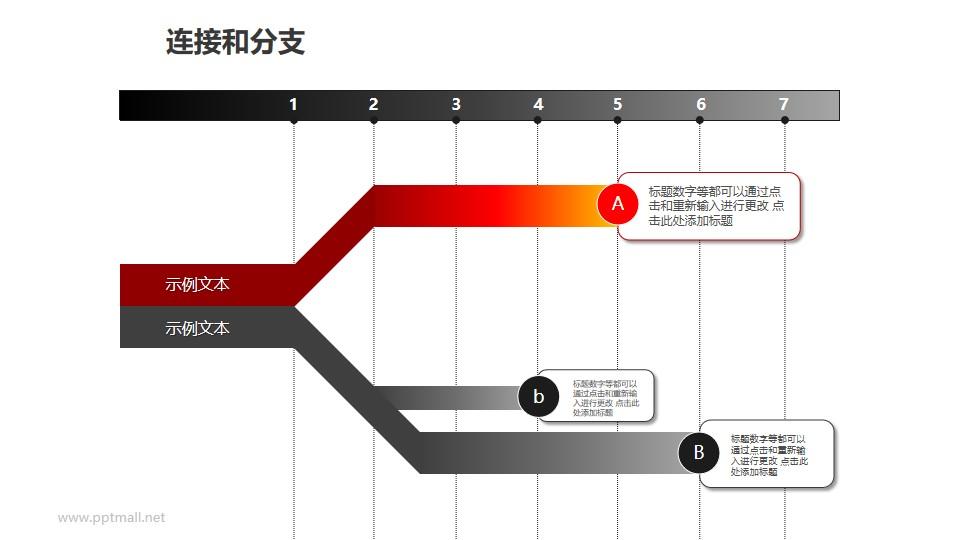连接与分支——红灰2部分总分关系PPT模板素材
