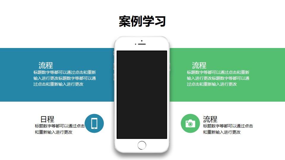 4部分文字说明/苹果手机样机/目录导航/要点列表PPT模板