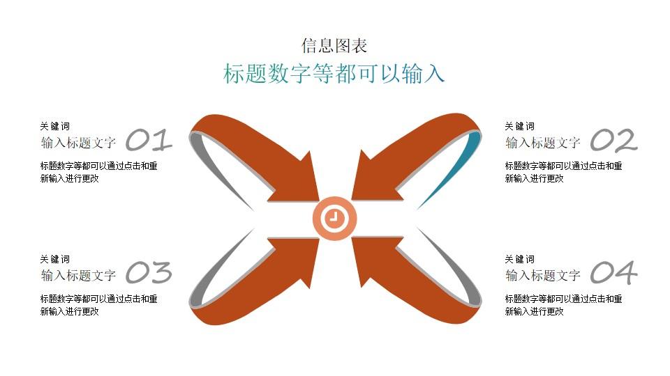 四个指向中心点的箭头PPT素材