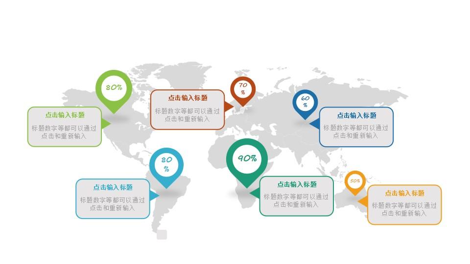 世界各地/不同国家的数据分析PPT图示素材