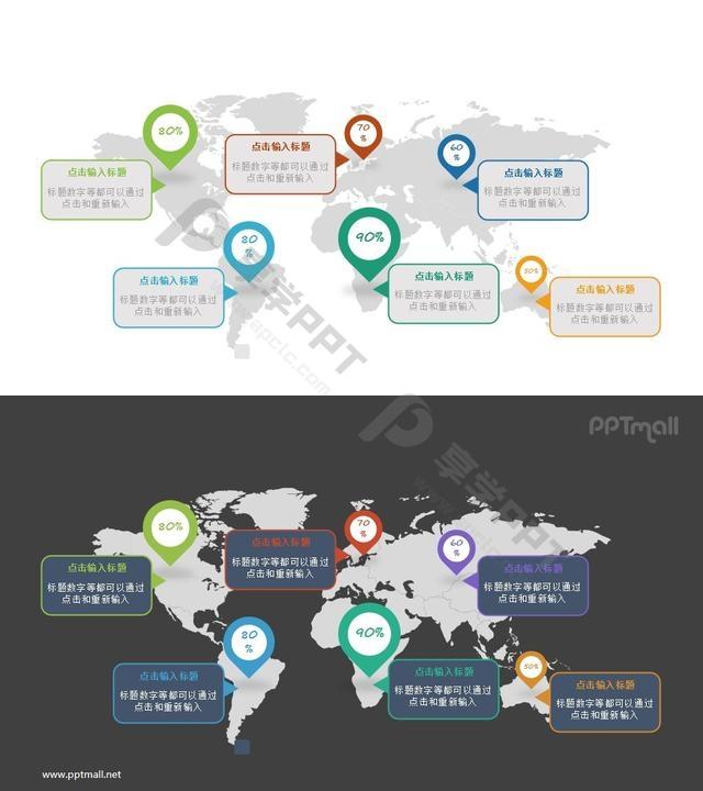 世界各地/不同国家的数据分析PPT图示素材长图