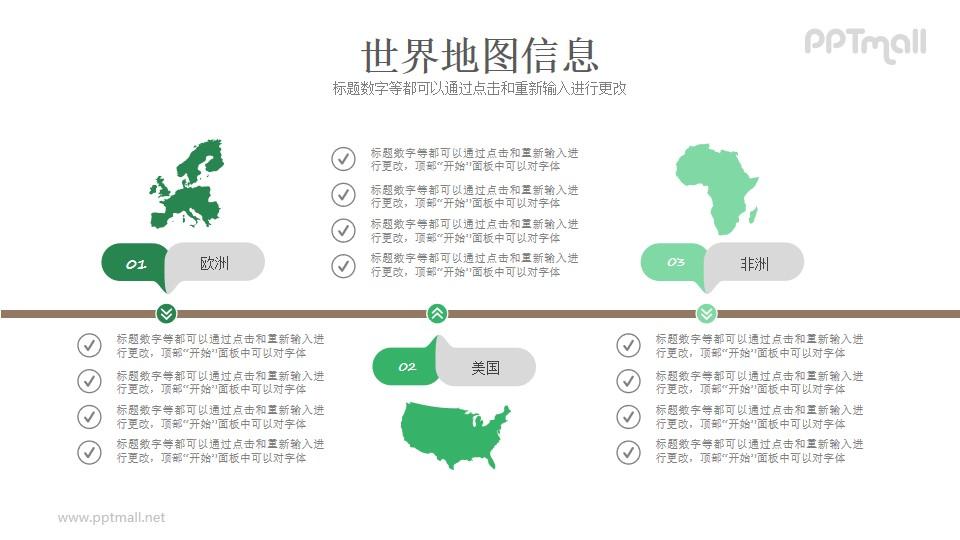 世界地图信息PPT模板